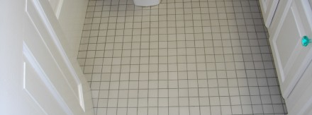 Bath Floor with 1″ Tiles Before