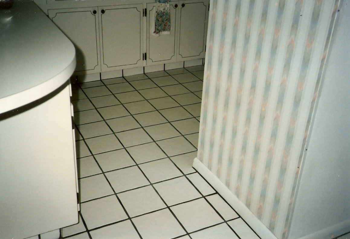 Cleaning kitchen floor tile grout
