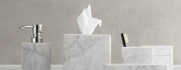 Bath Accessories We Love: Restoration Hardware Carrara Marble
